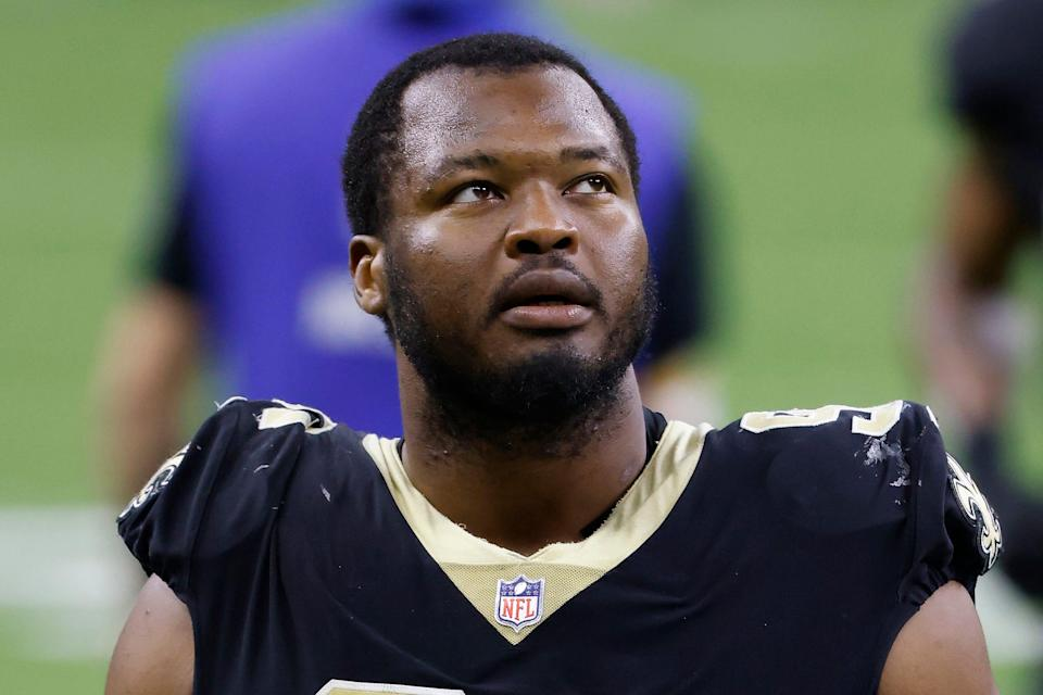 New Orleans Saints defensive tackle David Onyemata is shown after an NFL football game against the Atlanta Falcons in New Orleans, in this Sunday, Nov. 22, 2020, file photo.