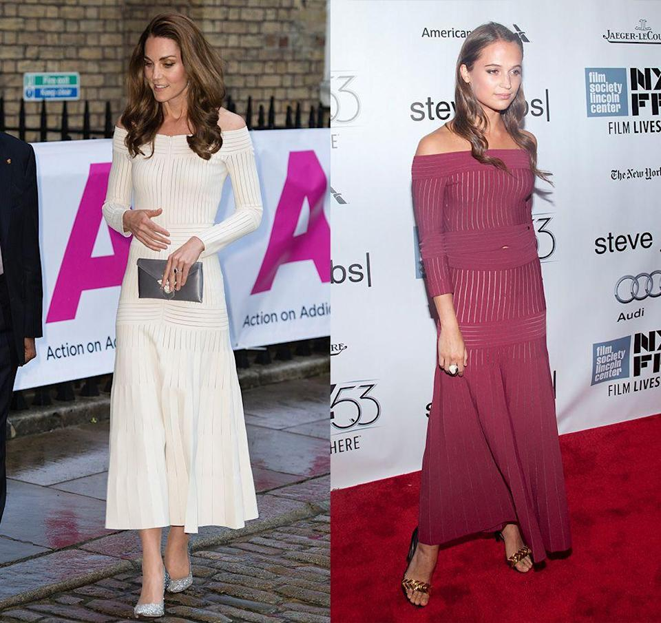 "<p>Kate Middleton is a big fan of her white off-the-shoulder dress by Barbara Casasola—she loves it so much that she's wore it <a href=""https://www.harpersbazaar.com/celebrity/red-carpet-dresses/a27959939/kate-middleton-off-the-shoulder-dress-addiction-gala/"" rel=""nofollow noopener"" target=""_blank"" data-ylk=""slk:multiple times"" class=""link rapid-noclick-resp"">multiple times</a>! And the knit maxi dress proved popular with more than just the royal, as numerous celebrities, including Alicia Vikander, have sported it on the red carpet.</p>"