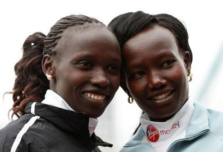 Athletics - London Marathon Preview Press Conference - The Tower Hotel, London, Britain - April 25, 2019 Kenya's Vivian Cheruiyot and Mary Keitany pose ahead of the London marathon Action Images via Reuters/Matthew Childs