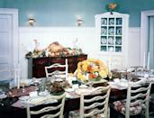 """<p>In 1951, President Truman and his family spent Thanksgiving in Key West Fla., where they vacationed each winter at a former naval station headquarters known as """"The Little White House."""" In this 1951 photograph, the home's dining room is decked out for Thanksgiving. <i>(Photo: Harry S. Truman Presidential Library and Museum/NARA)</i><br></p>"""