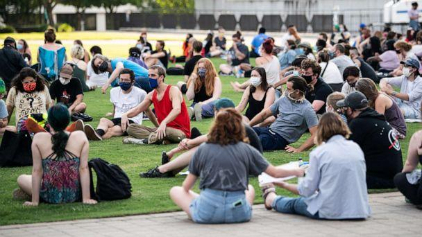 PHOTO:Participants gather in groups to discuss issues during a People's Movement assembly at Public Square Park in Nashville, July 7, 2020. (Andrew Nelles / The Tennessean via USA Today Network)