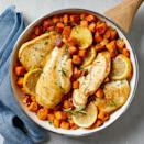 """<p>Chicken and sweet potatoes unite with the delicious taste of rosemary in this easy, one-skillet meal. Because we use parcooked and unseasoned sweet potatoes, the cooking time is much shorter--making this recipe perfect for weeknight cooking. <a href=""""https://www.eatingwell.com/recipe/266576/rosemary-chicken-with-sweet-potatoes/"""" rel=""""nofollow noopener"""" target=""""_blank"""" data-ylk=""""slk:View Recipe"""" class=""""link rapid-noclick-resp"""">View Recipe</a></p>"""