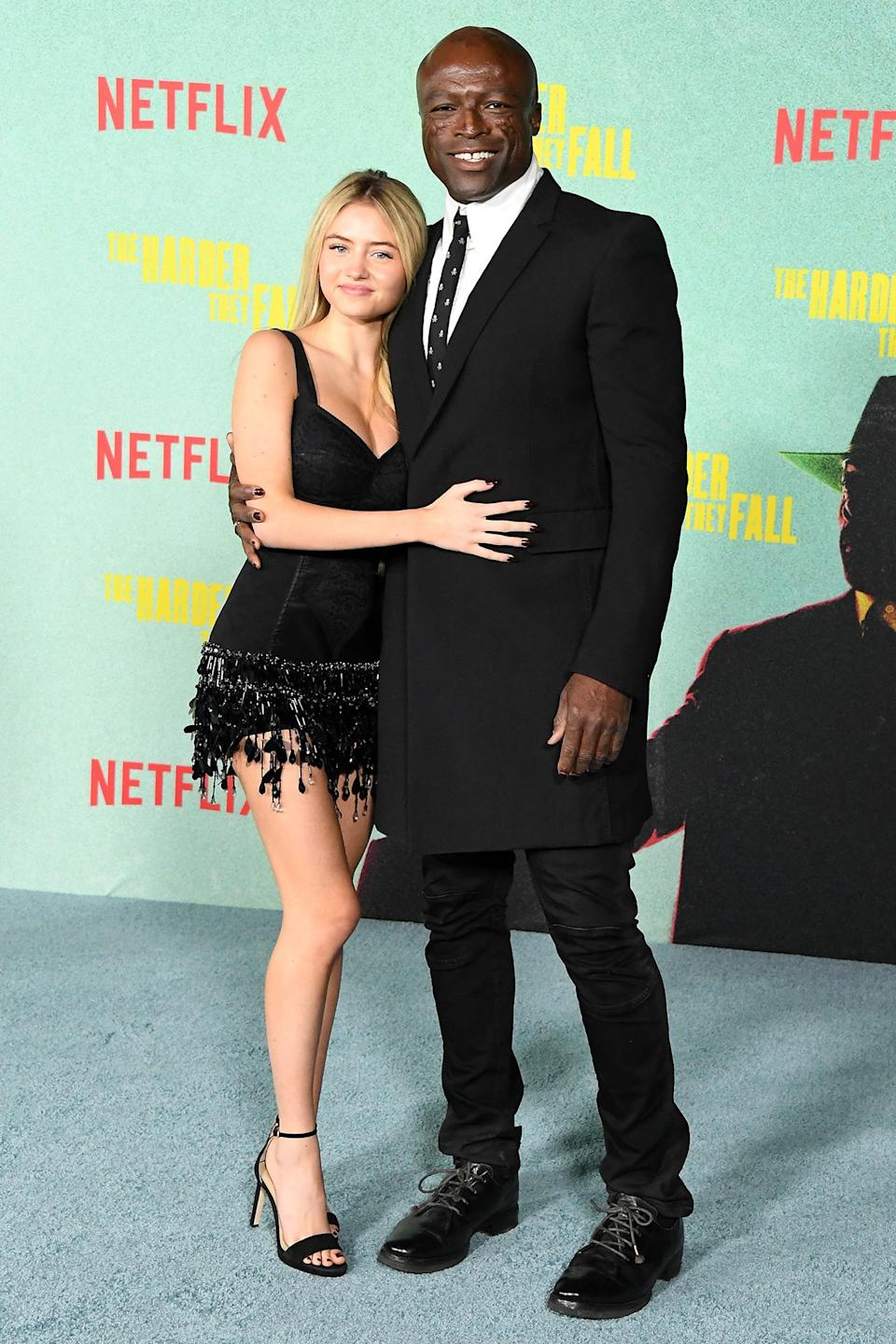 <p>Leni Klum and dad Seal pose at <em>The Harder They Fall</em> premiere at Shrine Auditorium and Expo Hall on Oct. 13 in L.A.</p>