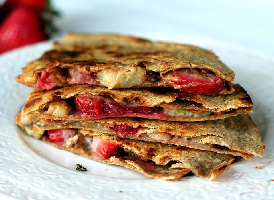 peanut butter strawberry banana quesadillas