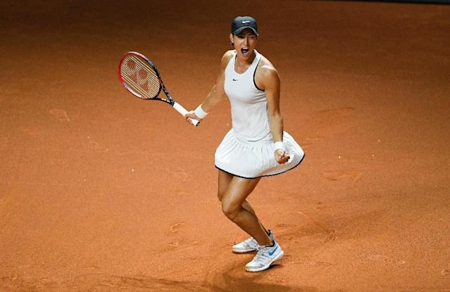 Caroline Garcia came back from a set down to beat Maria Sharapova (AFP Photo/THOMAS KIENZLE)