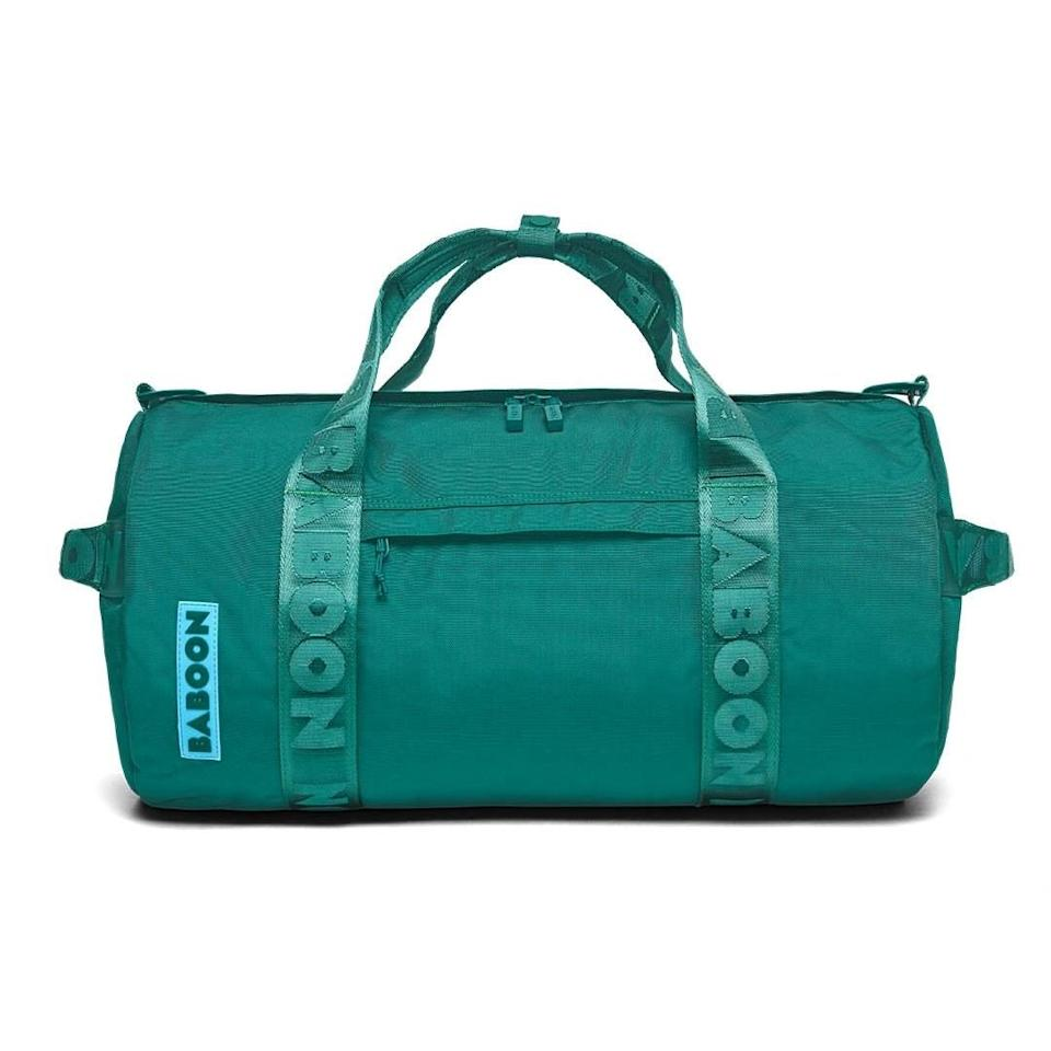 """$99, Baboon. <a href=""""https://baboontothemoon.com/products/day-duffle-32l#variant=emerald-green-cyan-blue"""" rel=""""nofollow noopener"""" target=""""_blank"""" data-ylk=""""slk:Get it now!"""" class=""""link rapid-noclick-resp"""">Get it now!</a>"""