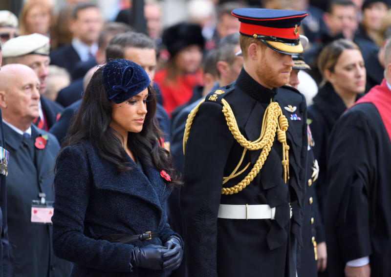 LONDON, ENGLAND - NOVEMBER 07: Prince Harry, Duke of Sussex and Meghan, Duchess of Sussex attend the 91st Field of Remembrance at Westminster Abbey on November 07, 2019 in London, England. (Photo by Karwai Tang/WireImage)