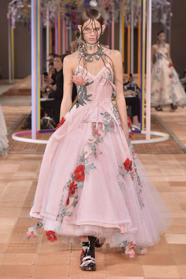 <p>McQueen showcased a ton of dreamy dresses, as well as featured two curve models. [Photo: Alexander McQueen] </p>