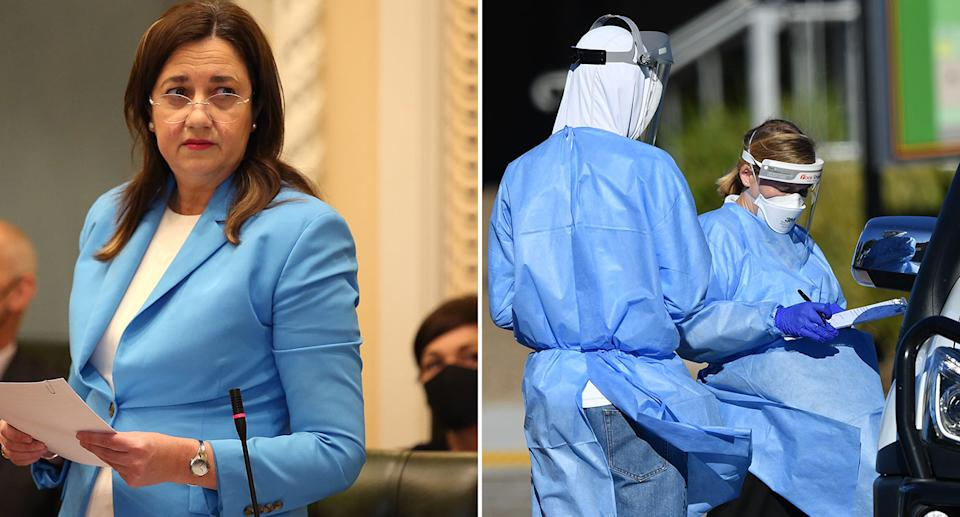 Annastacia Palaszczuk warned health authorities would act quickly and impose a lockdown if necessary. Source: AAP