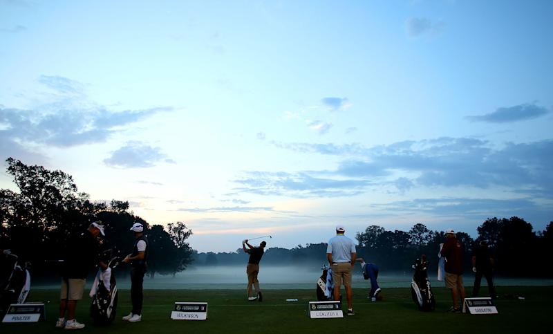 JACKSON, MS - OCTOBER 27: Golfers practice on the range prior to the start of play during the First Round of the Sanderson Farms Championship at the Country Club of Jackson on October 27, 2016 in Jackson, Mississippi. (Photo by Marianna Massey/Getty Images)