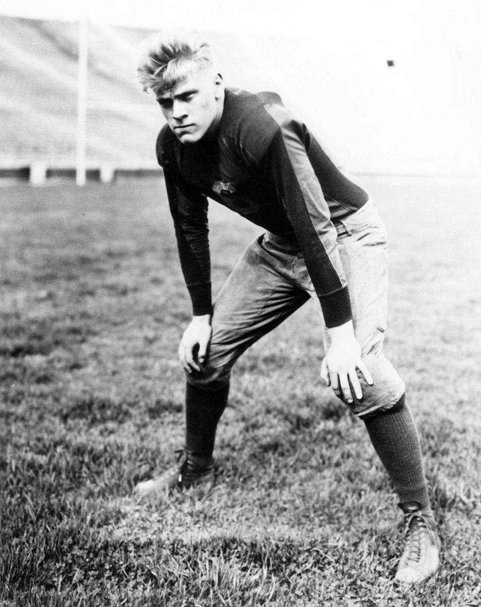 """<p>While President Gerald Ford earned his degree in economics at the University of Michigan, he also <a href=""""https://www.history.com/topics/us-presidents/gerald-r-ford"""" rel=""""nofollow noopener"""" target=""""_blank"""" data-ylk=""""slk:played football"""" class=""""link rapid-noclick-resp"""">played football</a>. Instead of pursuing the NFL when he graduated, he headed to Yale University for law school. </p>"""
