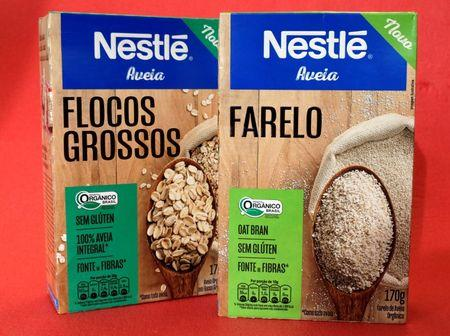 Boxes of Nestle organic oatmeal and oat bran are displayed in this picture illustration taken February 19, 2018. REUTERS/Paulo Whitaker/Illustration