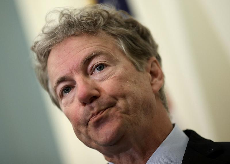 Republican Senator Rand Paul could stand in the way of passage of the spending bill (AFP Photo/WIN MCNAMEE)