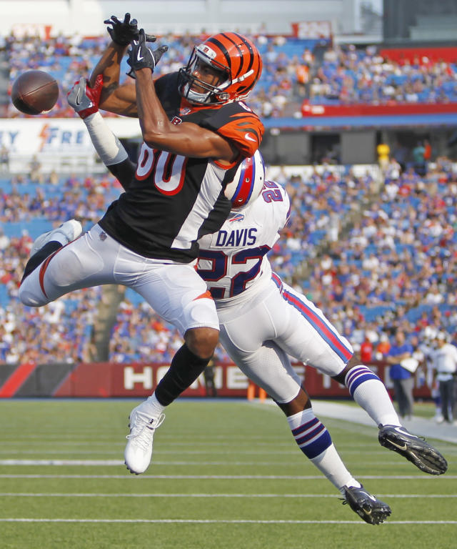 Buffalo Bills' Vontae Davis (22) breaks up a pass to Cincinnati Bengals' Josh Malone (80) during the second half of a preseason NFL football game Sunday, Aug. 26, 2018, in Orchard Park, N.Y. (AP Photo/Jeffrey T. Barnes)