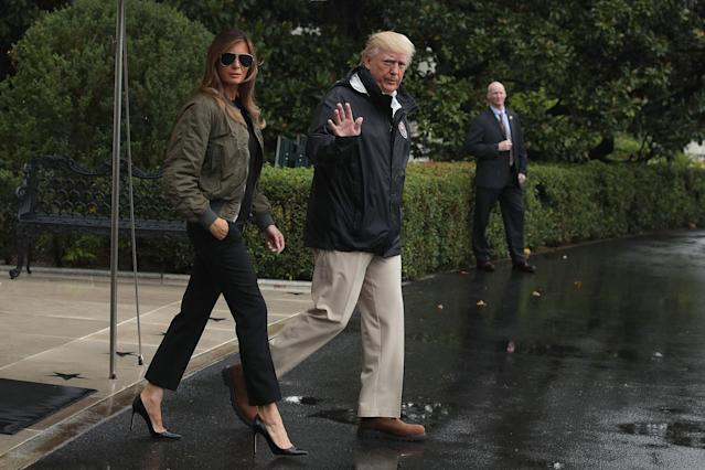 Melania Trump stirred controversy for wearing stilettos to visit Hurricane Harvey victims in Texas last August. (Photo: Getty Images)