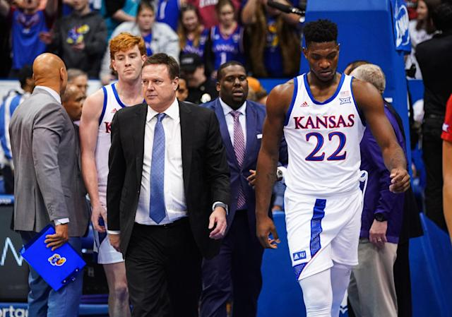 Kansas Jayhawks head coach Bill Self and forward Silvio De Sousa (22) walk off the court after a brawl broke out at the end of the game against the Kansas State Wildcats at Allen Fieldhouse on Jan. 21. (Mandatory Credit: Jay Biggerstaff-USA TODAY Sports)