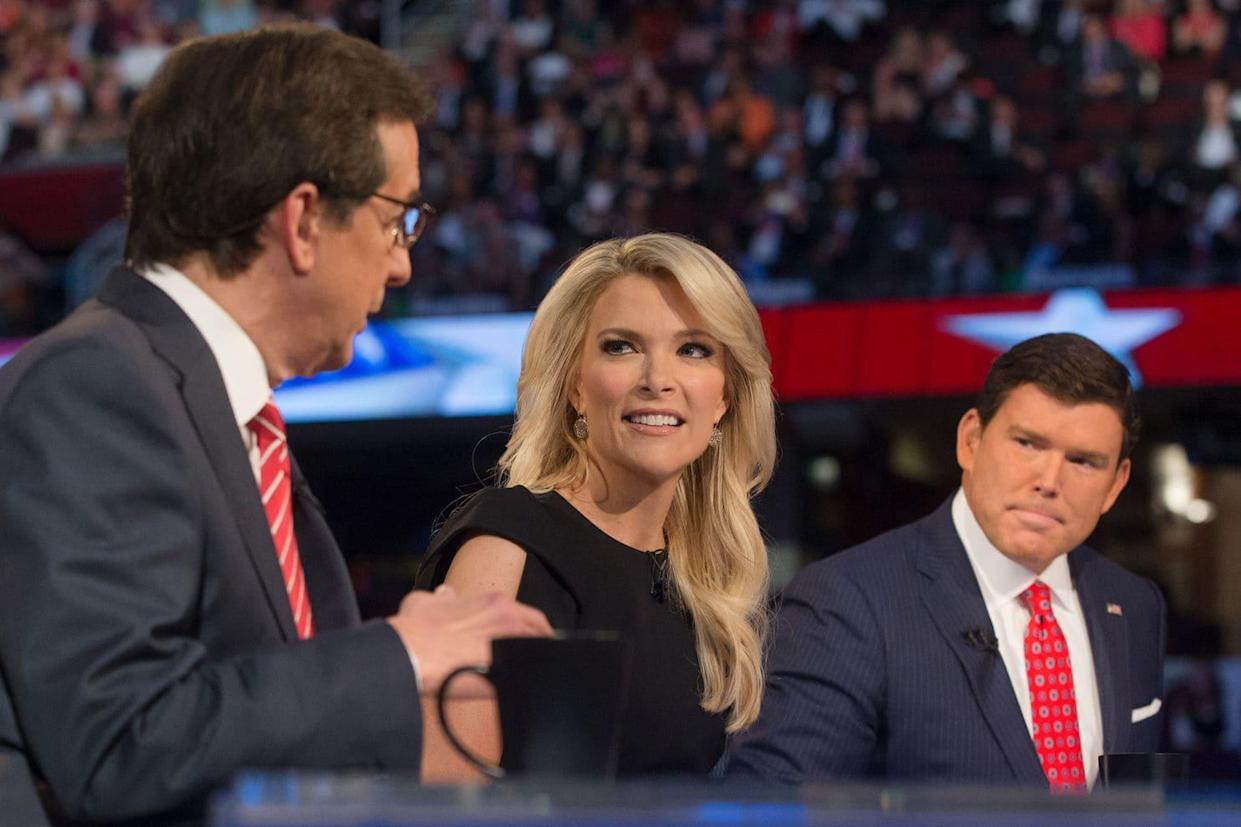 Fox News moderators Chris Wallace, left, Megyn Kelly and Bret Baier at a Republican presidential primary debate in Cleveland in 2015. (Photo: John Minchillo/AP)