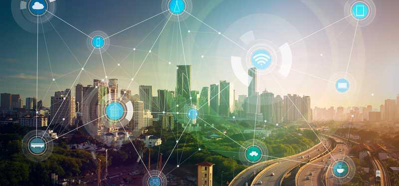 A smart city operating with the help of multiple interconnected wireless devices