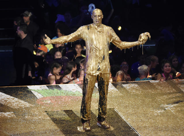 This is not Kobe Bryant's Hall of Fame bust. This is him getting slimed at the Kids' Choice Sports Awards. (AP)