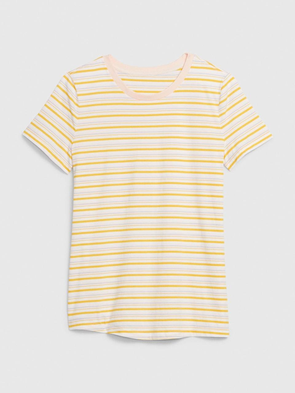 <p>We love the vintage vibes of this <span>Gap Vintage Wash Stripe Crewneck T-Shirt</span> ($15). Pair this with a denim skirt and high-tops or penny loafers for a 70s style.</p>