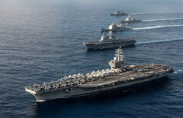 The USS Ronald Reagan will join another carrier for training exercises (Rex) Stock image