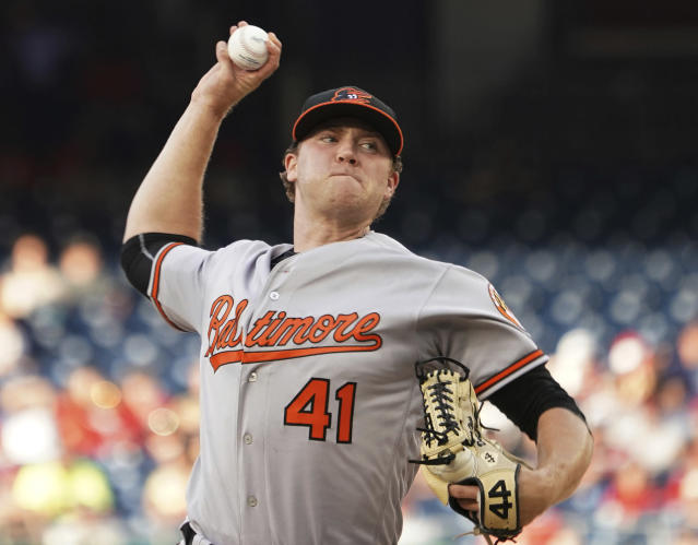 Baltimore Orioles starting pitcher David Hess throws during the first inning of the team's baseball game against the Washington Nationals at Nationals Park, Tuesday, June 19, 2018, in Washington. (AP Photo/Carolyn Kaster)