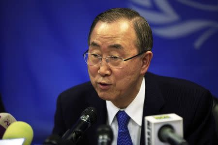 U.N. Secretary-General Ban Ki-moon speaks during a news conference at the UNMISS (United Nations Mission in South Sudan) base in Juba