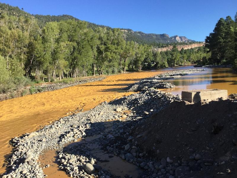 This photo provided by La Plata County in Colorado on August 10, 2015 shows the orange colored Animas River near Durango, Colorado shortly after a toxic waste spill (AFP Photo/)
