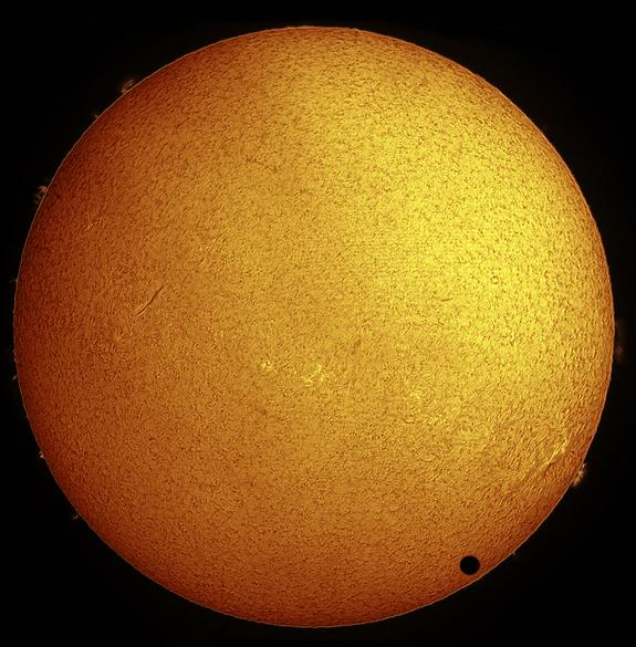 Paul Hyndman captured this stunning view of Venus crossing the face of the sun in hydrogen-alpha light on the morning of June 8, 2004 from Roxbury, Connecticut. He used an Astro-Physics 105-millimeter Traveler telescope fitted with a Coronado S