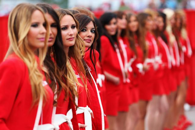 MONTMELO, SPAIN - MAY 12: Grid girls are seen before the Spanish Formula One Grand Prix at the Circuit de Catalunya on May 12, 2013 in Montmelo, Spain. (Photo by Julian Finney/Getty Images)
