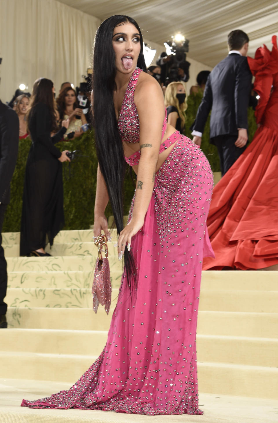 """Lourdes Leon attends The Metropolitan Museum of Art's Costume Institute benefit gala celebrating the opening of the """"In America: A Lexicon of Fashion"""" exhibition on Monday, Sept. 13, 2021, in New York. (Photo by Evan Agostini/Invision/AP)"""