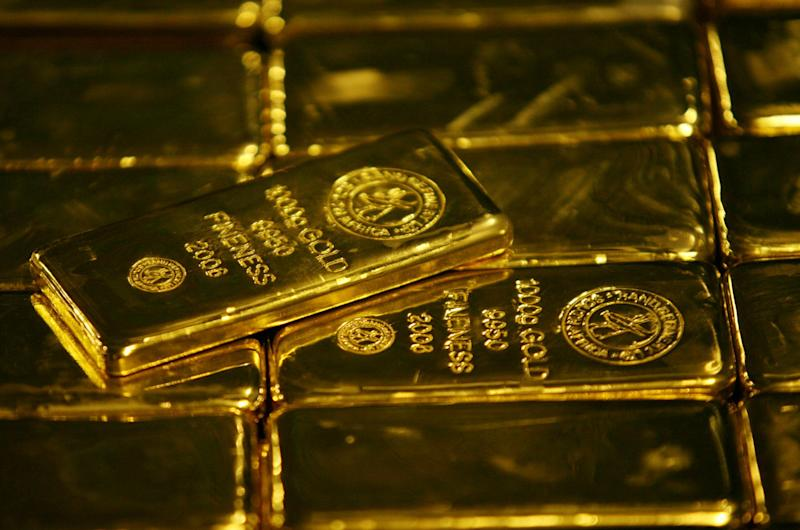 Gold bars are displayed at South Africa's Rand Refinery in Germiston. Reuters: REUTERS