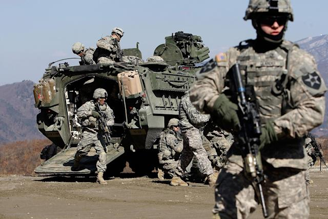U.S. soldiers participate in the Key Resolve/Foal Eagle exercise in Pocheon, South Korea: Chung Sung-Jun/Getty Images
