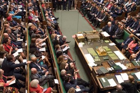 Britain's Prime Minister Boris Johnson speaks during PMQs session in the House of Commons in London