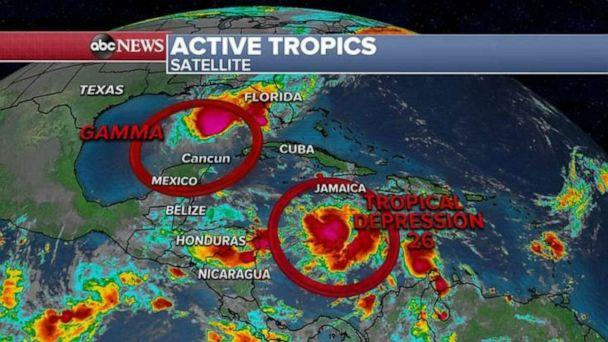 PHOTO: Tropical Storm Gamma is not forecast to do much but should still meander in the southern Gulf near the Yucatan Peninsula and bring the region more rain. (ABC News)