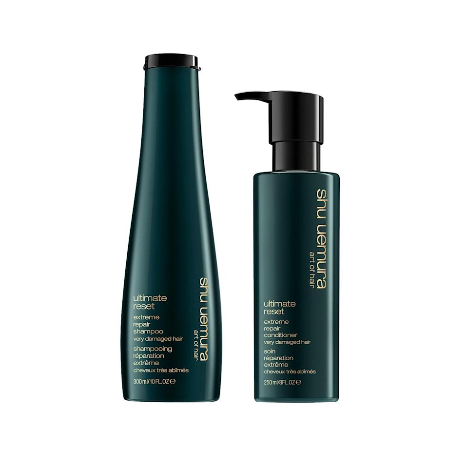 """<p>This tag team duo is made for uber-damaged hair and they really do their job. Just one lather, rinse, repeat session made one editor's bleached-to-hell hair feel like silk.</p> <p>$106 for both (<a rel=""""nofollow noopener"""" href=""""https://www.shuuemuraartofhair-usa.com/collections/ultimate-reset/extreme-repair-conditioner.html?dwvar_extreme-repair-conditioner_size=8.45OZ%20/%20250ML#start=1&cgid=damaged-hair-conditioners"""" target=""""_blank"""" data-ylk=""""slk:Shop Now"""" class=""""link rapid-noclick-resp"""">Shop Now</a>)</p>"""