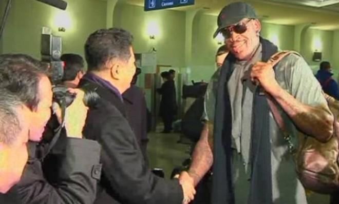 "Dennis Rodman arrives in Pyongyang, North Korea, for a round of ""basketball diplomacy."""