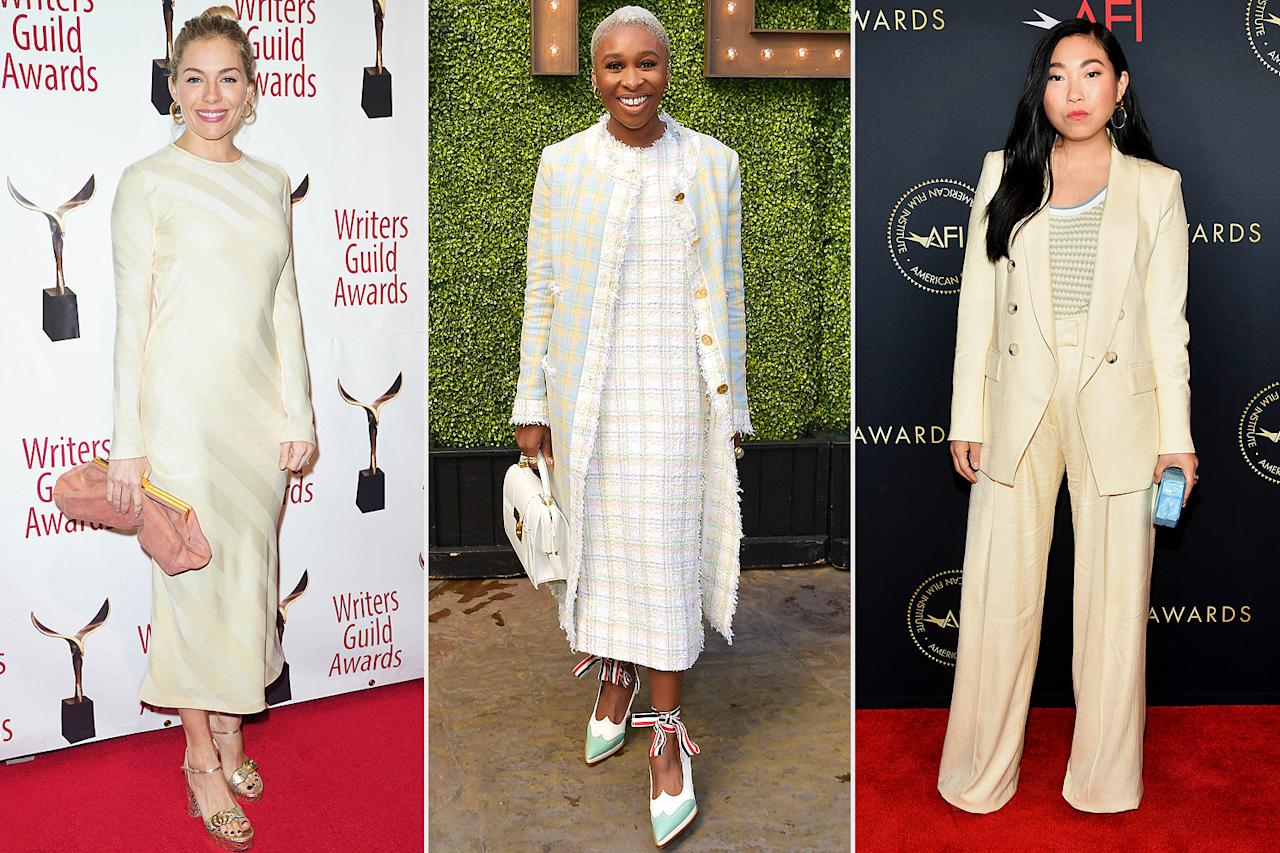 <p>The hot styles this season are full of fun colors, unexpected fabrics and new shapes. Get inspired by these celebs and shop our top five biggest trends.</p> <p>Sienna Miller carrying a Mansur Gavriel soft clutch, Cynthia Erivo in a tweed Thom Browne look and Awkwafina in a pale yellow Veronica Beard suit.</p>