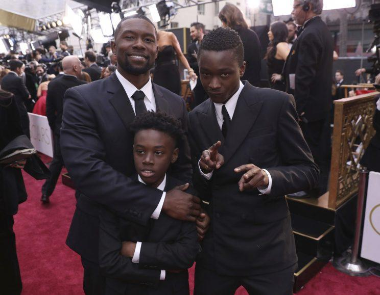 Trevante Rhodes, Alex Hibbert, and Ashton Sanders on the Oscars red carpet.
