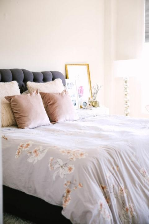 Bedrooms are all about comfort, so try a cozy, plush headboard.