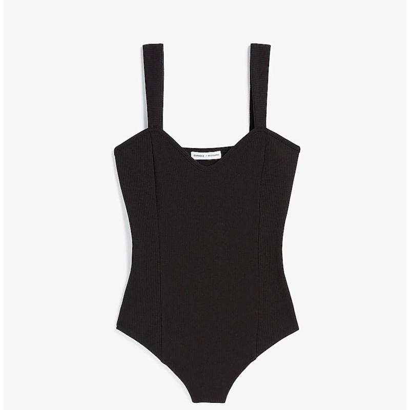 Express x Rocky Barnes Ribbed Sweetheart Thong Bodysuit (Photo: Express)