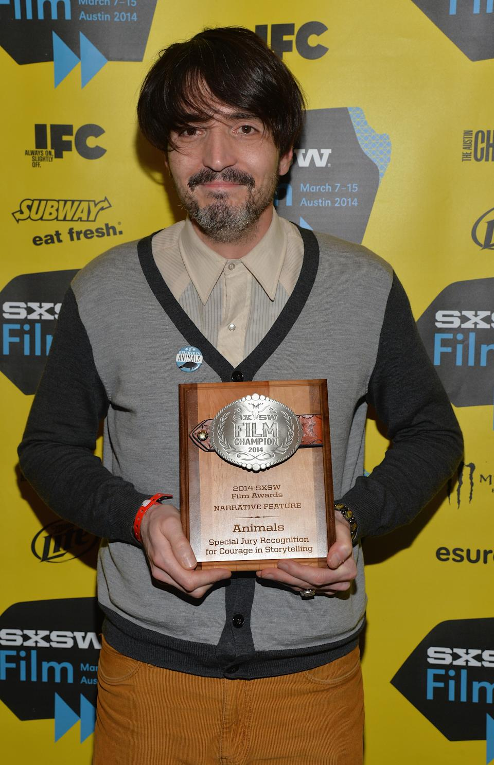 AUSTIN, TX - MARCH 11:  Filmmaker David Dastmalchian poses with the award for Special Jury Recognition for Courage in Storytelling for