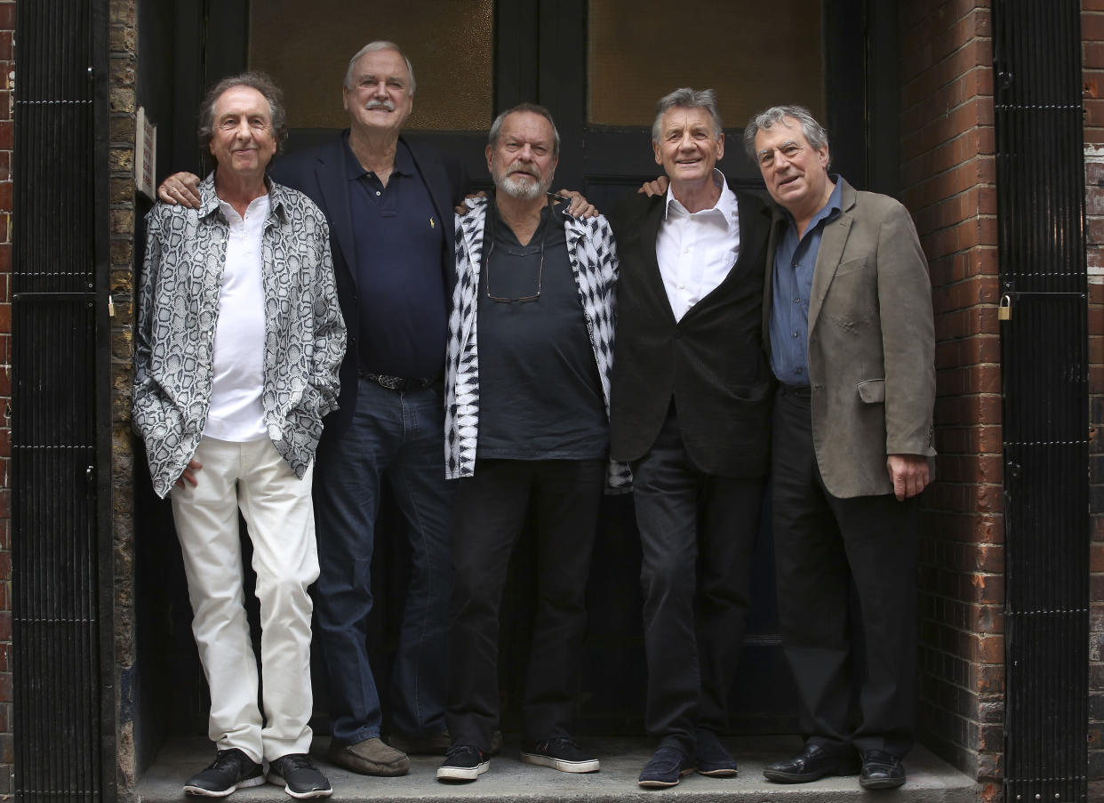 (left to right) Eric Idle, John Cleese, Terry Gilliam, Michael Palin and Terry Jones from Monty Python at a photocall before their series of live dates which start at the O2 Arena.