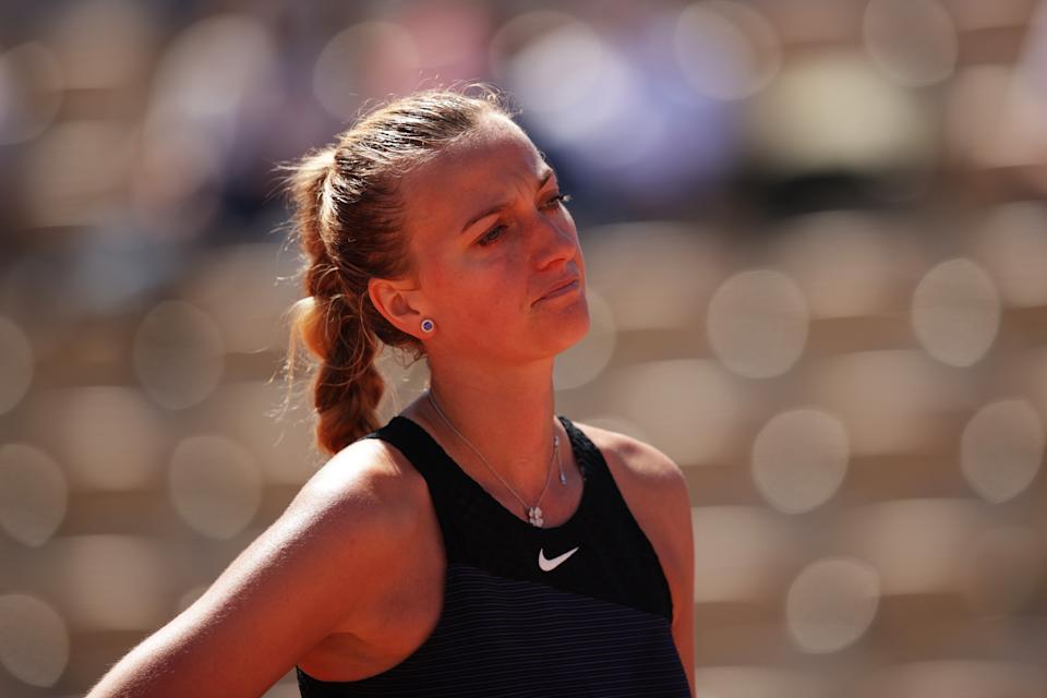 PARIS, FRANCE - MAY 30: Petra Kvitova of The Czech Republic reacts in her First Round match against Greet Minnen of Belgium during Day One of the 2021 French Open at Roland Garros on May 30, 2021 in Paris, France. (Photo by Adam Pretty/Getty Images)