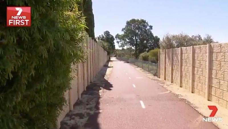 The cyclist was grabbed while riding along the Kwinana Freeway bicycle path. Source: 7 News