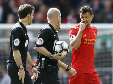 Britain Soccer Football - Liverpool v Everton - Premier League - Anfield - 1/4/17 Liverpool's Dejan Lovren speaks to referee Anthony Taylor at half time Action Images via Reuters / Carl Recine Livepic