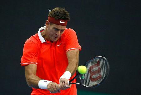 Tennis - China Open - Men's Singles - Beijing, China - October 2, 2018 - Juan Martin del Potro of Argentina in action against Albert Ramos Vinolas of Spain. REUTERS/Thomas Peter