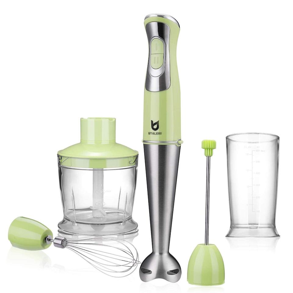 <p>Whip up smoothies, soups, and more with this handy <span>Immersion Hand Blender</span> ($50).</p>
