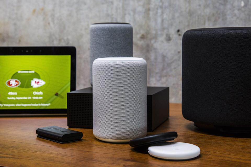 Amazon smart devices sit on display during an unveiling event at the Amazon.com Inc. Spheres headquarters in Seattle, Washington, U.S., on Thursday, Sept. 20, 2018. Amazon.com Inc.unveiled its vision for smart homes powered by the Alexa voice assistant, with a dizzying array of new gadgets and features for almost every room in the house -- from a microwave oven to a security camera and wall clock. Photographer: Andrew Burton/Bloomberg via Getty Images