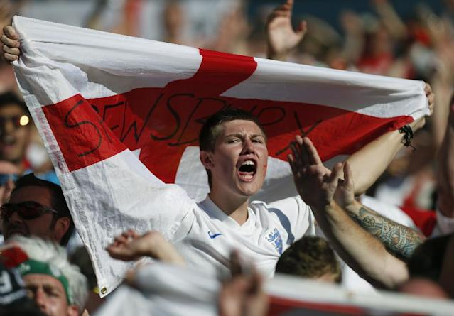 An England fan shouts during the group D World Cup soccer match between Costa Rica and England at the Mineirao Stadium in Belo Horizonte, Brazil, Tuesday, June 24, 2014. (AP Photo/Jon Super)